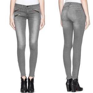 Rag + Bone Grey Silverlake Moto Skinny Jeans 24